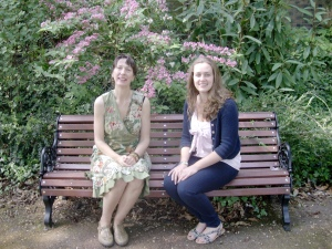 Fiona & Becky enjoying the beautiful gardens near the Live & Local office.