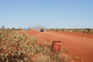 Tour bus in Australian outback
