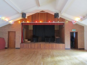 The stage at Fairfield Village Hall